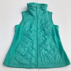 Columbia Mint Green zip up vest; size small